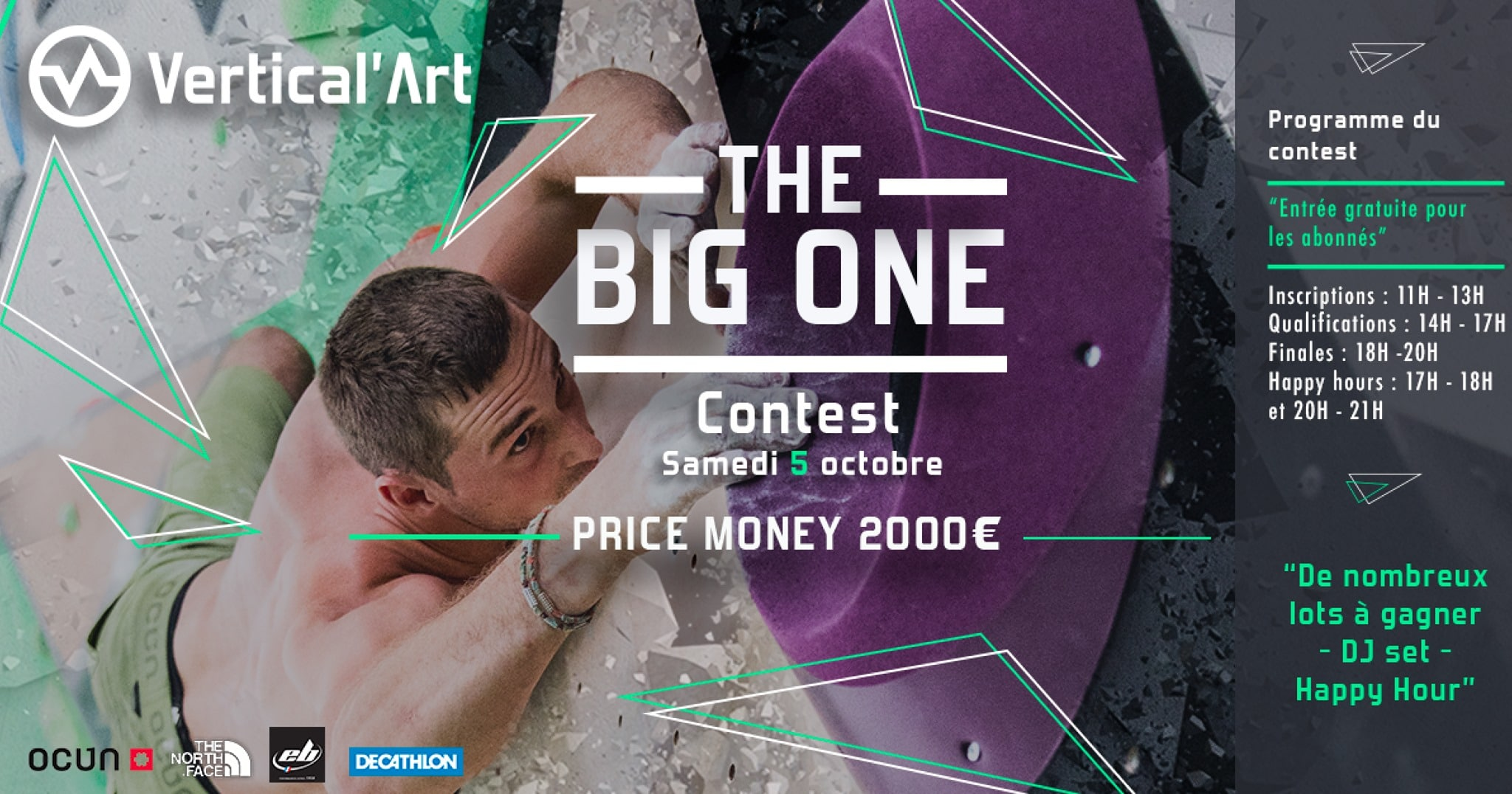 contest - the big one - Vertical'Art lille - lille - escalade de bloc - restaurant - bar - DJ - price money - happy hour - compétition - grimpe - escalade