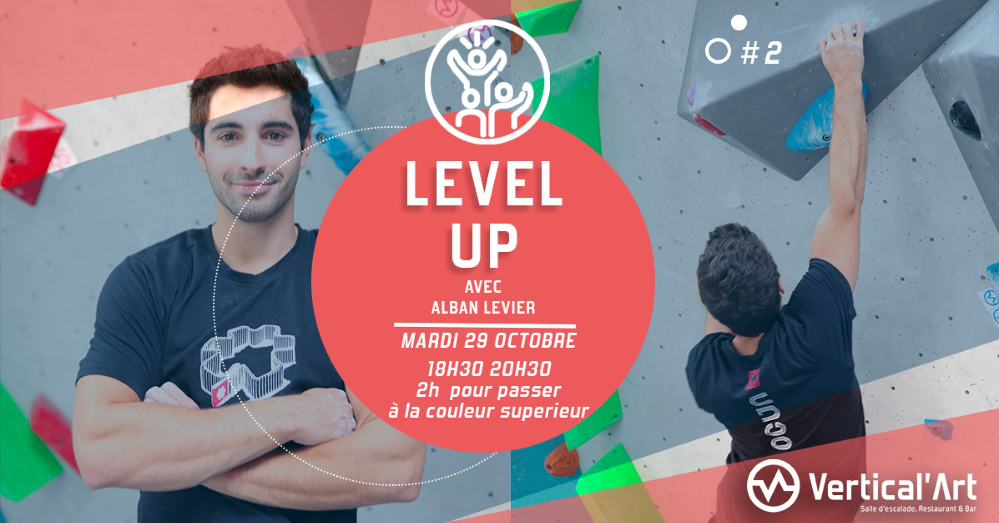 master class level up 2 - avec notre mender de la team Vertical'Art - Alban Levier à lillli salle d'escalade de bloc restaurant et bar -