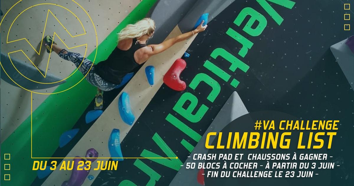 challenge grimpant à Vertical'Art lille climbing list salle d'escalade de bloc restaurant et bar