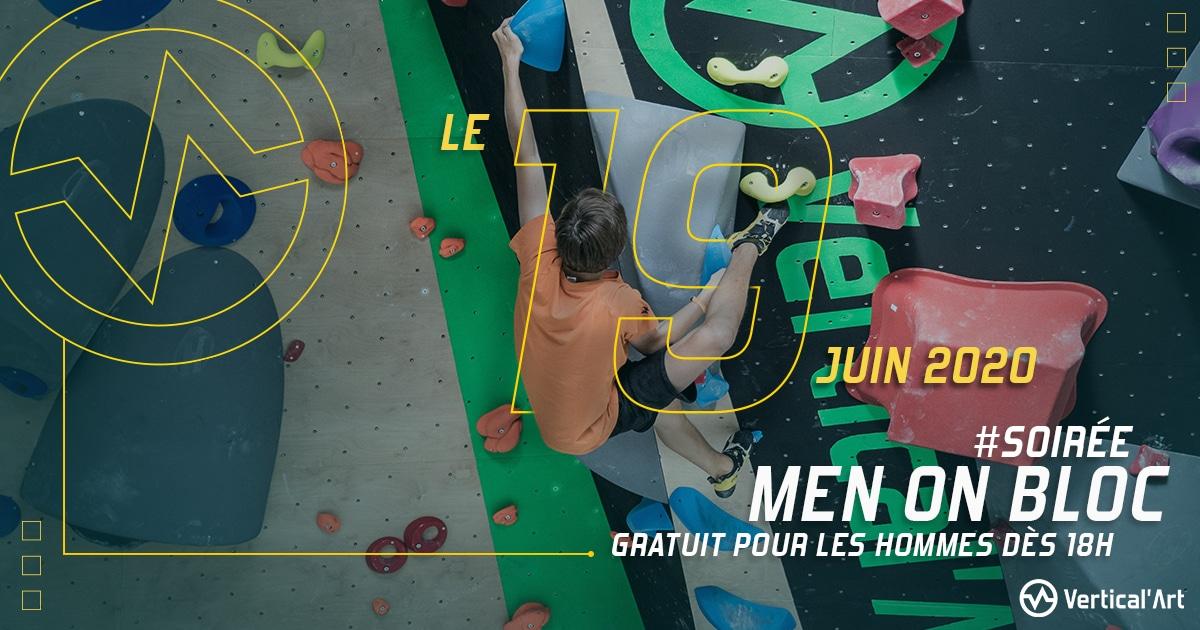 soirée men on bloc entrée gratuite pour les hommes chez verticl'art Lille salle inodore d'escalade de bloc et restaurant et bar