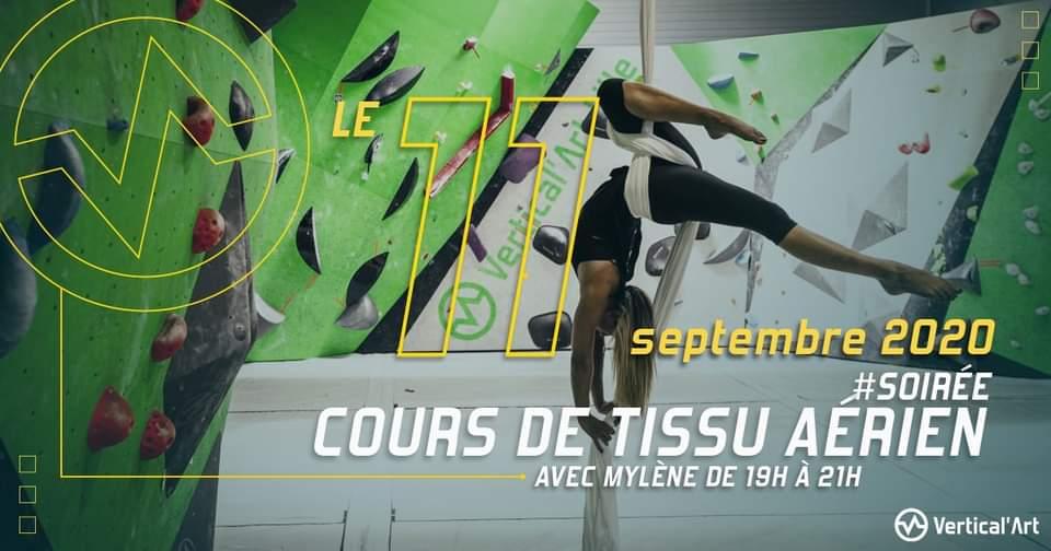 cours de danse sur tissu aérien dans votre salle de Vertical'Art Lille, le vendredi 11 septembre, avec votre coach Mylène. Discipline esthétique à base d'acrobaties dans les airs.