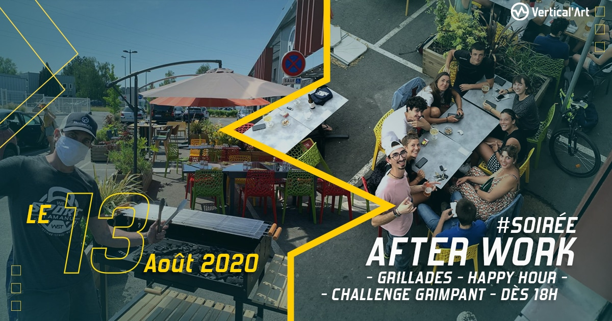 Soirée afterwork vertical'art lille grillades happy hour challenges grimpants escalade terrasse chill
