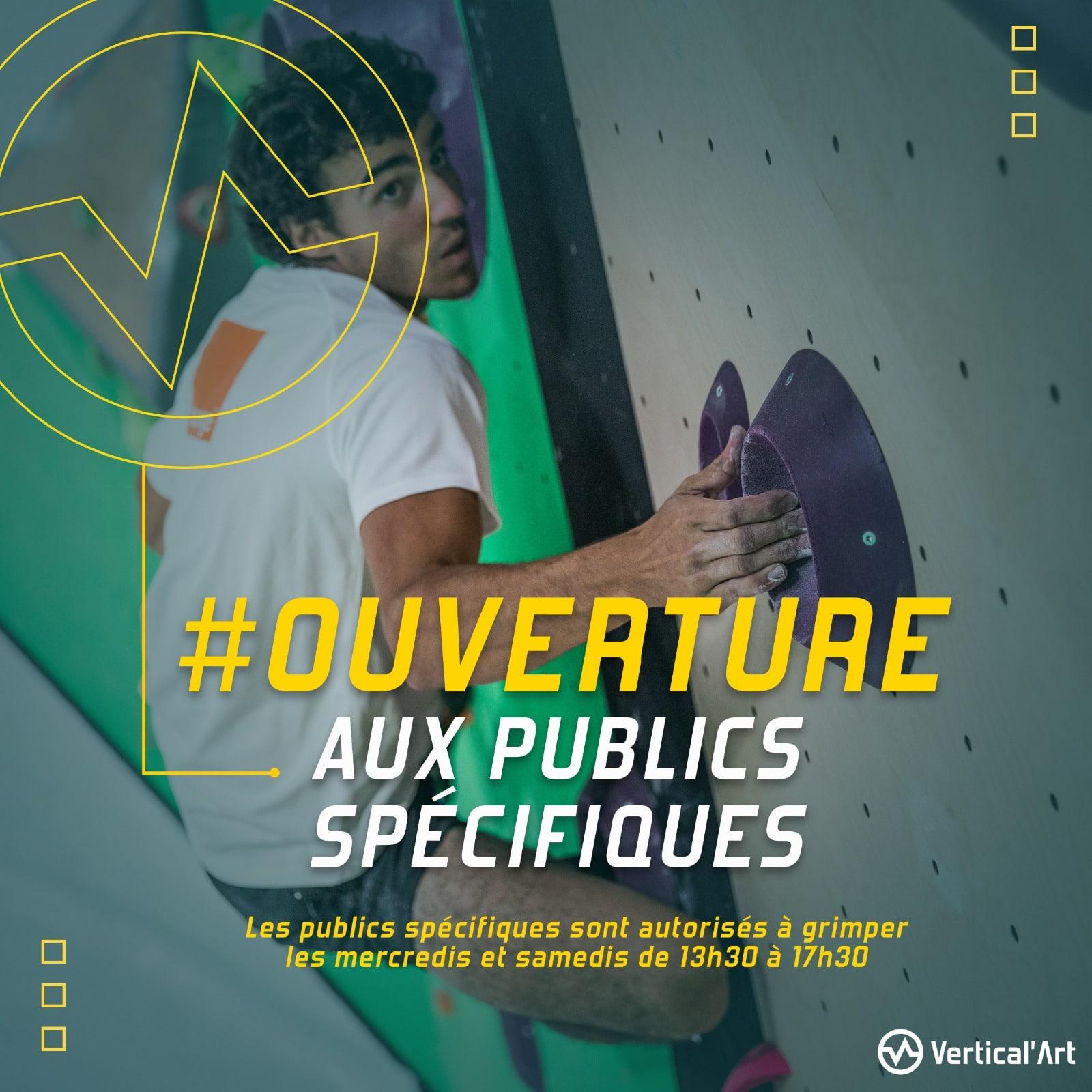 Ouverture aux publics spécifiques à Vertical'Art Lille, les publics prioritaires sont autorisés à grimper les mercredis et samedis de 13h30 à 17h30