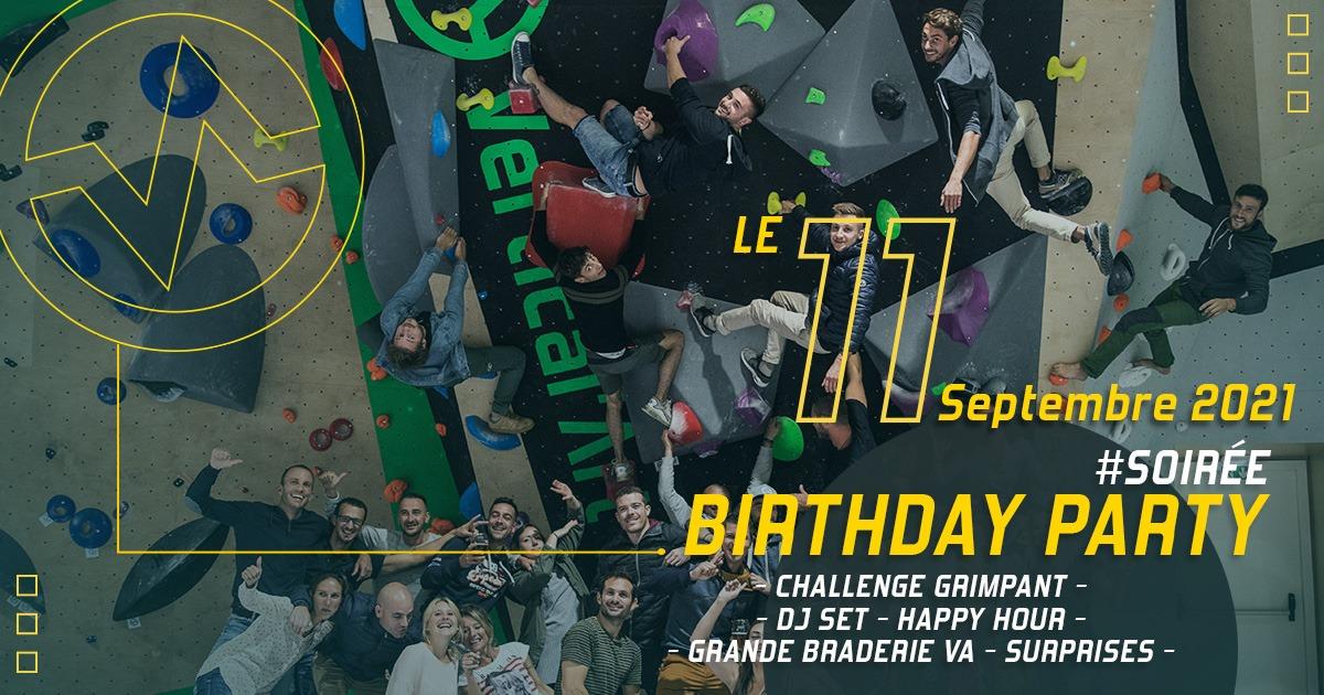 Birthday Party pour fêter les 2 ans de votre salle Vertical'Art Lille, challenges grimpe, DJ set et surprises au programme