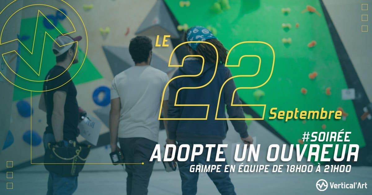 Soirée Adopte un ouvreur mercredi 22 septembre 2021 à Vertical'Art Lille, grimpe en équipe de 18h à 21h