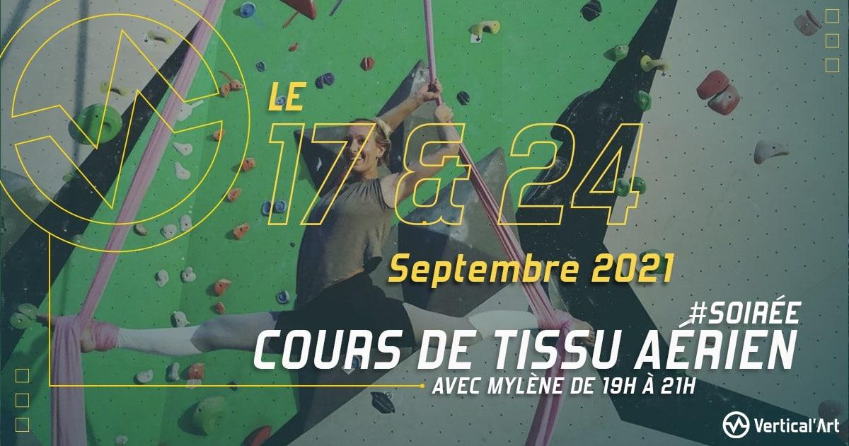 Cours de tissu aérien avec Mylène les vendredi 17 et 24 septembre 2021 dans votre salle Vertical'Art Lille, débutants acceptés, tarif de la séance : 20 euros