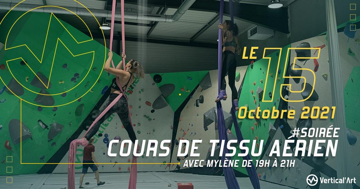 Cours de tissu aérien vendredi 15 octobre à Vertical'Art Lille, avec notre professeure Mylène, tarif : 20 € la séance